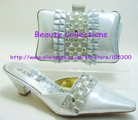 Free shipping by DHL Italian SHOES AND BAGS TO MATCH wedding party design silver color shoes and bag, NO EVS 212 size 38-43