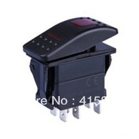 Free Shipping 4 Pin SPDT Marine Boat LED Waterproof Rocker Switch ON-OFF-ON with two Light