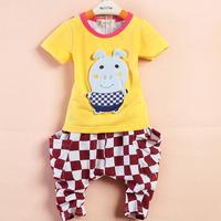 Baby friendly children's summer clothing male female child baby cartoon bear short-sleeve T-shirt plaid pants twinset