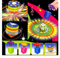 Free shipping!Colorful eco-friendly music spinning top toys flashing child outdoor casual traditional toys spinning top toys