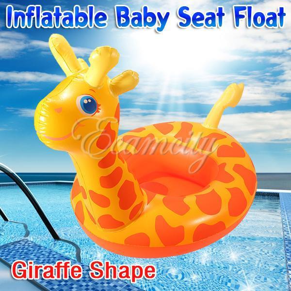 Free Shipping New Giraffe Shape Baby Child Kids Inflatable Floating Swimming Pool Raft Chair Seat Float Swim Ring Wholesale(China (Mainland))