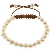 Freshwater Pearl Shamballa Bracelet, round pearl beads, with black wax cord, handcrafted, adjustable, 8-10mm