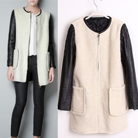 2014 leather patchwork fashion spring overcoat patchwork leather overcoat outerwear top jacket for women and girls