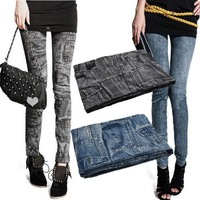 New Fashion Leggings Denim Jeans Printed Clothing Ladies' Sexy Pencil Pants Black High Street Leggings For Women 2013