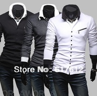 NEW 2013 Free shipping spring autumn unique diagonal zipper men's casual long-sleeved knit shirt polo shirt  Men shirts POLOS