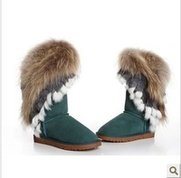 EMS fee Fashion fox fur snow boots rabbit fur boots round toe flat heel cow muscle outsole high-leg tassel  cotton-padded shoes