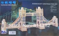 Free Shipping Good Quality London Tower Bridge Model Building Kits Toy Children Gift Education Green Wood 21.5*56.5*11cm