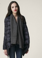 Europe 2013 autumn new yarn splicing down jacket, winter long, slim. Yarn splicing irregular hem thin slim slim