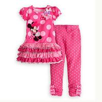 2014 new Cartoon Minnie Mouse Children's Clothing Set baby girl short sleeve dot dress tops+pant 2pcs girls summer suit