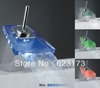 blue led waterfall faucet