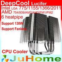 Fanless 0 noise, 6 heatpipe, Support 140mm fan, Intel LGA775/1155/1366/2011, AMD AM2/AM3/FM1/FM2, CPU Cooler, DeepCooler Lucifer