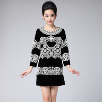 Free shipping Autumn Vintage High Quality Elegant Velvet Slim Fashion Dress