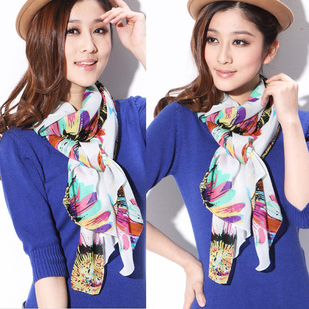Sunscreen female chiffon silk scarf ultralarge anti-uv scarf cape dual-use ultra long beach towel