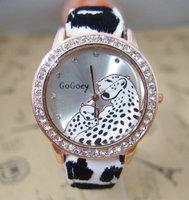 New arrival Leopard grain design watches Crystal rhinestone women dress wrist watch High quality quartz  wristwatch go063
