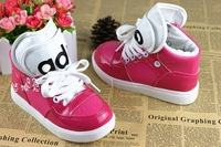 2013 spring and autumn child canvas shoes casual leather medium cut male female child single shoes