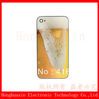 Free shipping Brimming Beer Glass Battery Back Cover Housing for iPhone 4s Replacement parts