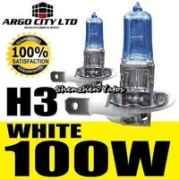 12V 100W H3 Xenon Gas HID Foglight Light Bulbs 2pcs Super White