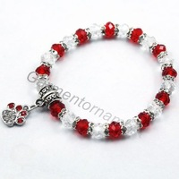 """6"""" children 1cm paw print charms bracelet with 6mm glass crystal beaded handmade kid's jewelry mix 10 color"""