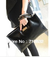 2013 NEW Brand WOMEN fashion genuine leather bags rivet day clutch candy women's messenger bag wholesale , free shipping QAA159