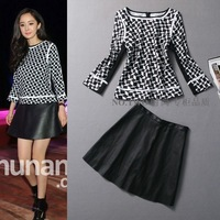 Free shipping Fashion Women's Slim Fashion Yang Mi PU Twinset Dress