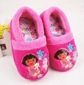 Dora children home shoes, slip-resistant cotton-padded winter slippers, girl's favorite friend, good warm-keeping effect