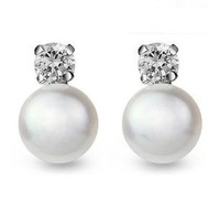 8-9MM gold plated Zircon genuine pearls 925 sterling silver earrings 2013 new arrival freshwater pearl stud earrings wholesale