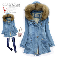 2013 autumn and winter wadded hooded denim jacket women outerwear slim waist lacing slim fur collar thickening wadded jacket