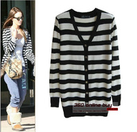 Classic preppy chic style strips medium-long long/full sleeve womens knitted sweater striped cardigan spring women fashion