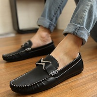 New arrival 2014 Men metal shoes buckle lazy designer two ways Moccasins leather shoes popular casual Deck shoes FREE SHIPPING