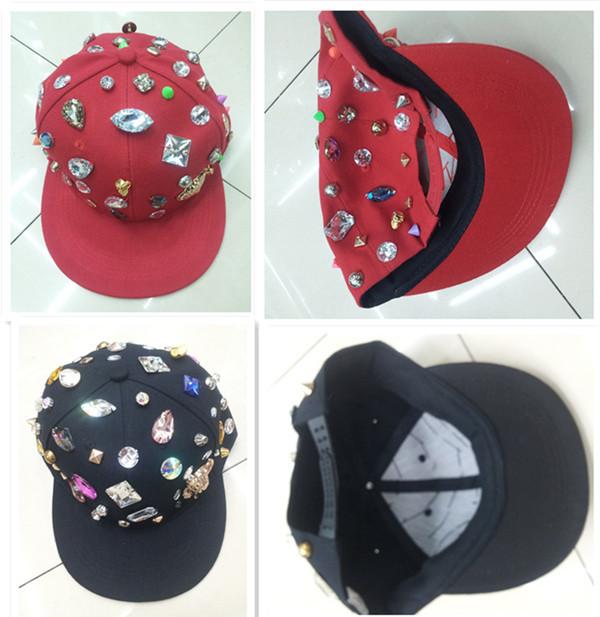 Quality new handmade gold metal rivet spike studed crystal rhinestone baseball cap fashion punk hiphop snapbacks flat peak hat(China (Mainland))