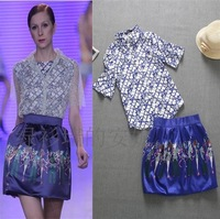 Summer Women's 2013 Fashion Slim Elegant Print Elegant Shirt Half-skirt Casual Set
