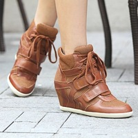 Free Shipping 2013 ASH Spring Summer Sneakers Wedges Women Shoes Height Increasing Fashion Genuine Leather