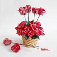 Household goods rose resin fruit fork 10 novelty accessories decoration