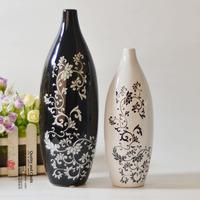 Fashion modern decoration vase ceramic crafts furnishings classic black and white