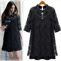 Free Shipping Plus size clothing lace dress loose autumn fashion plus size a-line