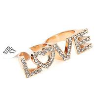 "2014 Free Shipping Letter ""LOVE"" Full Rhinestone Two Finger Rings Fashion Girls Womens Ring Wholesale 200"