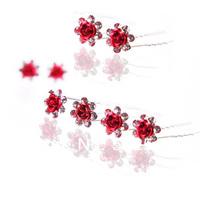 Best Red Headdress Flower Diamond Jewelry Girls Bridal Accessories Wholesale Hair Barrettes KH504