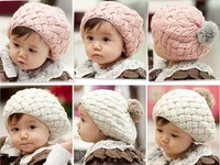Baby Knitted hat 2013 knitted Kids hats Cotton rabbit hair ball hat knitted children hat