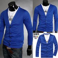 New 2013 summer-autumn men t-shirt, Korean men V-neck sweater . Pure Fashion Slim sweater, long sleeve t shirt, big size