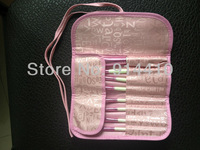 free shipping 8pcs Professional Pro Cosmetic Make Up Brush Set With Case New Pink Wood Handle