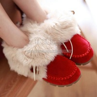 2013 Cheap Red Blue Green Orange Black Suede Womens Flat Lace Up Fur Ankle Snow Moccasin Boots For Winter Shoes Free Shipping