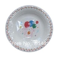 22cm disposable white dot ballon paper dish plate ,party wedding tray