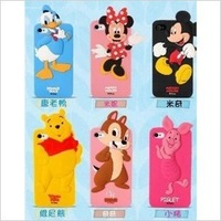 Newest Cute Cartoon Duck Dynasty Minnie Mickey Mouse Pig bear kawaii 3D cover Silicon case for iphone 4S/5 , 1pcs/lot freeship