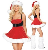 2014 New white plush for Christmas Set Christmas hats Christmas costumes party strap dress princess dress for women