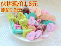 24 Pairs/Lot Girl's Cute Candy Color Love Heart Surgar Circle Rubber Hair Band Elastic Hair Bands Muilt Choices Hair Accessories