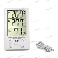 Clock LCD Digital Hygrometer Humidity Thermometer Temperature Meter Gauge White