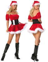New Costumes waist closure collar Christmas costumes Christmas party costume sexy uniform for women Free shipping