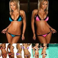 Free shipping 2014 New sexy rose vs Bikini set Beachwear women lace swimwear bandage swimsuit Free size suit
