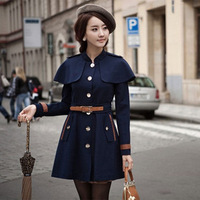 New Style Woolen Navy Blue Single-breasted Women Coats with Cape Long Sleeve Women Coats send Belt