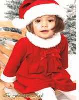 Free Shipping 2013 New Fashion The Winter Infant Girls Female Kids Child Christmas Costumes Princess Bow One piece Red Dress Hat